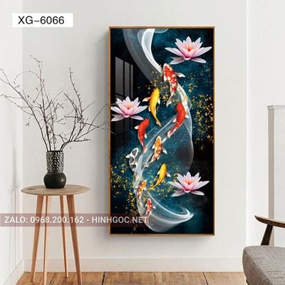 Tranh hiện đại, tranh cửu ngư quần hội và hoa sen-XG-6066