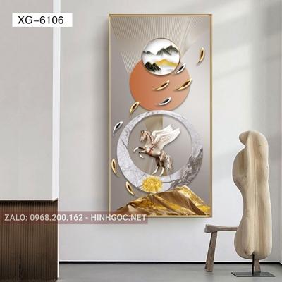 Tranh con ngựa và đàn cá chép vàng-XG-6106