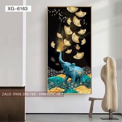 Tranh con voi và hoa lá vàng-XG-6163