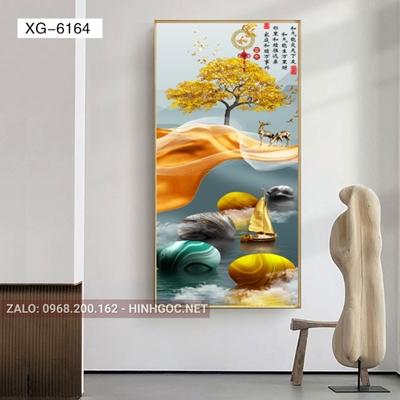 Tranh con hươu đứng trên dải vân nghệ thuật-XG-6164