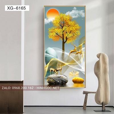 Tranh con hươu đứng trên dải vân nghệ thuật-XG-6165