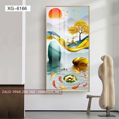 Tranh hiện đại con hươu đứng trên dải vân nghệ thuật-XG-6166