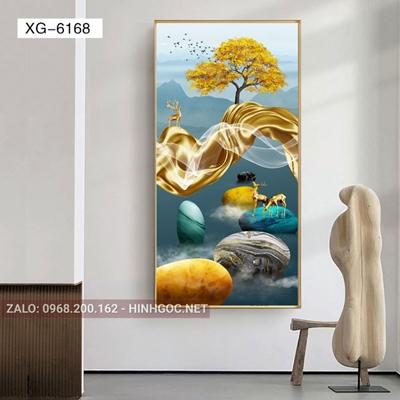 Tranh hiện đại hươu đứng trên đá cuội-XG-6168