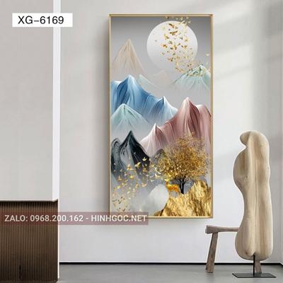 Tranh hiện đại hươu đứng trên núi nghệ thuật-XG-6169