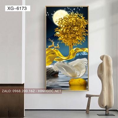 Tranh hiện đại hươu đứng trên dải vân và đàn cá chép vàng-XG-6173