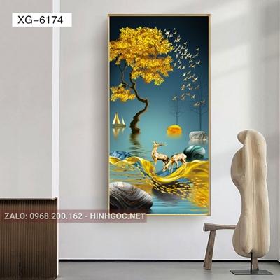 Tranh hiện đại hươu đứng trên dải vân và đàn cá chép vàng-XG-6174
