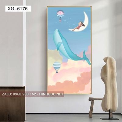 Tranh phòng bé, cô bé và ánh trăng mơ ước-XG-6176