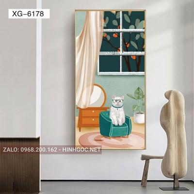 Tranh con mèo trên ghế ấn tượng-XG-6178