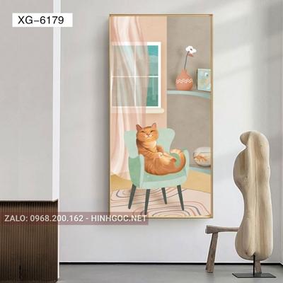 Tranh con mèo trên ghế vui vẻ-XG-6179