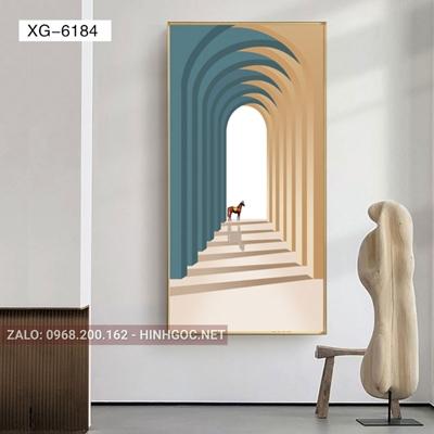 Tranh trừu tượng, con ngựa và hình line art-XG-6184