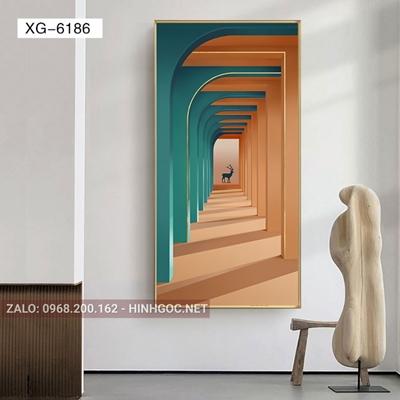 Tranh trừu tượng, nghệ thuật kiến và con hươu-XG-6186