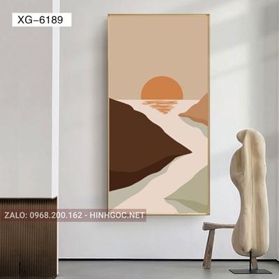 Tranh trừu tượng, nghệ thuật mặt trời và thác nước-XG-6189