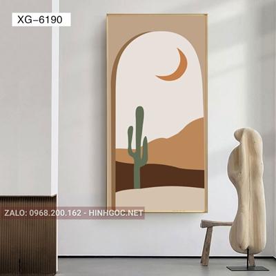 Tranh trừu tượng, cây xương rồng và ánh trăng-XG-6190