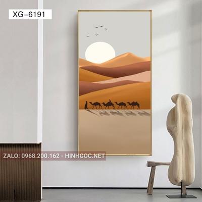 Tranh phong cảnh người và đàn đà điểu trên sa mạc-XG-6191