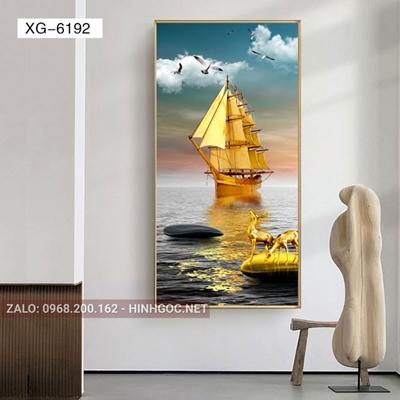 Tranh con hươu đứng trên đá cuội và thuyền vàng-XG-6192