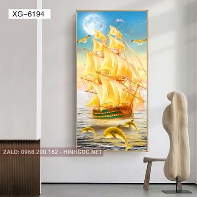 Tranh thuận buồm xuôi gió và cá vàng may mắn-XG-6194