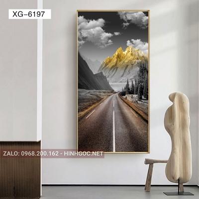 Tranh phong cảnh con đường và mây trắng-XG-6197