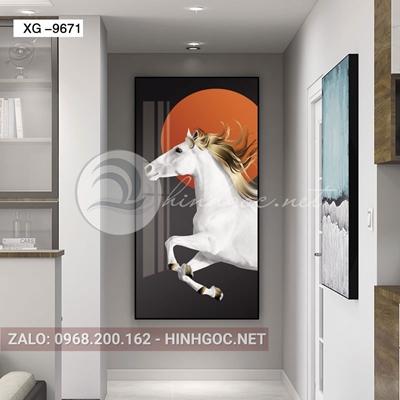 Tranh con ngựa trắng trang trí tường-xg-9671