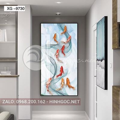 Tranh cửu ngư quần hội, đàn cá và dải vân nghệ thuật-xg-9730