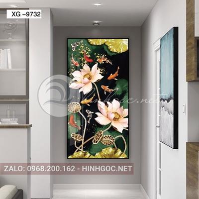 Tranh cửu ngư quần hội, đàn cá và hoa sen đẹp-xg-9732