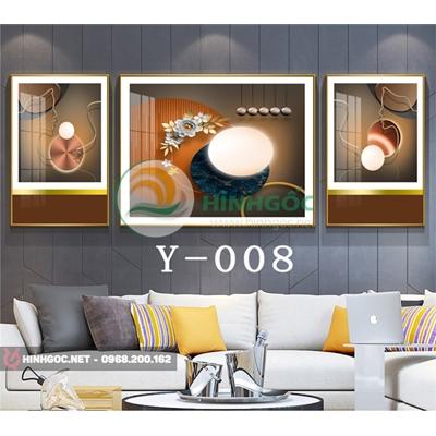 Tranh bộ 3 bức, tranh hoa lá và hình line art nghệ thuật-Y-008