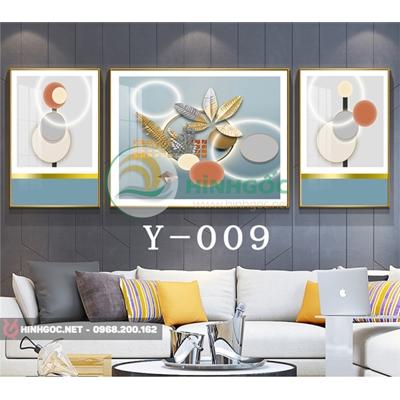 Tranh bộ 3 bức, tranh hoa lá và hình line art-Y-009