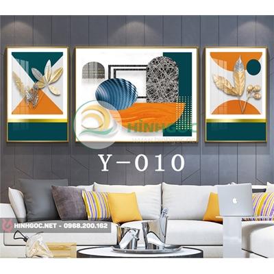 Tranh bộ 3 bức, tranh hoa lá và hình line art đẹp-Y-010