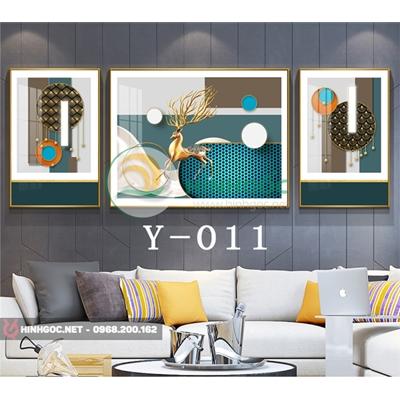 Tranh bộ 3 bức, tranh con hươu và hình line art nghệ thuật-Y-011