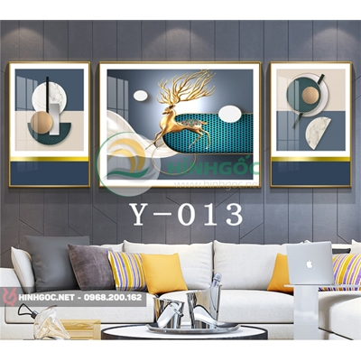 Tranh bộ 3 bức, tranh con hươu và hình line art độc đáo-Y-013
