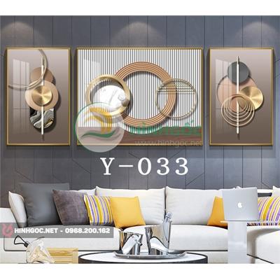 Tranh bộ 3 bức, tranh hình line art hình tròn đẹp-Y-033