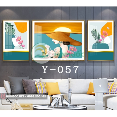 Tranh bộ 3 bức, tranh chân dung cô gái và bông hoa -Y-057