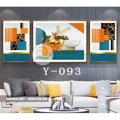 Tranh bộ 3 bức, tranh con hươu vàng và hình line art-Y-093