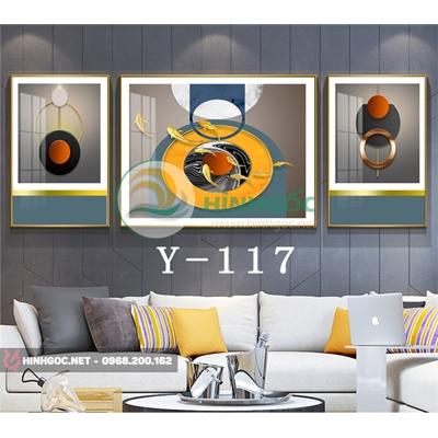 Tranh bộ 3 bức, tranh cửu ngư quần hội và hình line art -Y-117