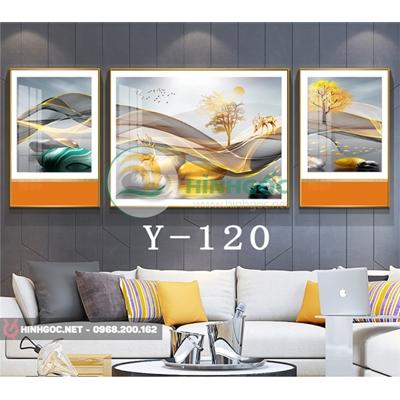 Tranh bộ 3 bức, tranh con hươu đứng trên dải vân -Y-120