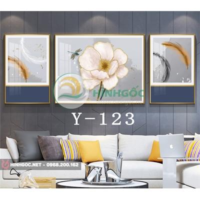 Tranh bộ 3 bức, tranh lông vũ và bông hoa trắng -Y-123