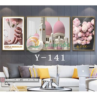 Tranh bộ 3 bức, tranh hoa và nhà tháp cổ-Y-141