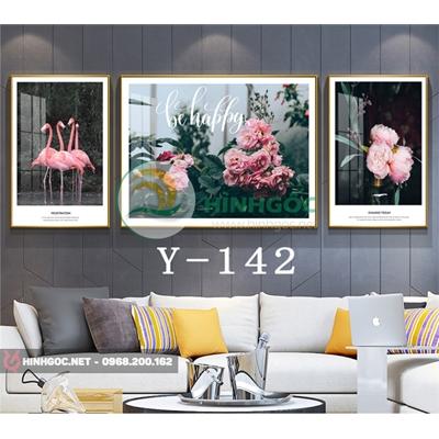 Tranh bộ 3 bức, tranh chim hồng hạc và hoa-Y-142