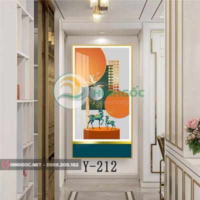 Tranh con hươu và hình line nghệ thuật-Y-212