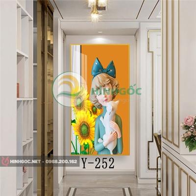 Tranh chân dung cô gái bế mèo-Y-252
