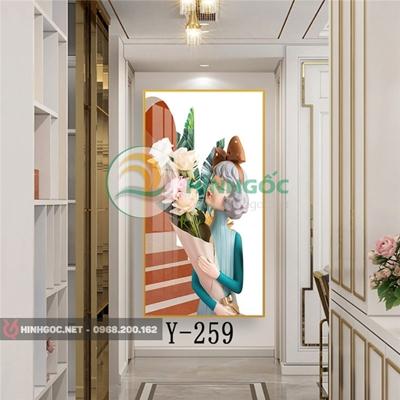 Tranh chân dung cô gái cầm bó hoa-Y-259