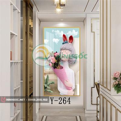 Tranh chân dung cô gái cầm bó hoa-Y-264