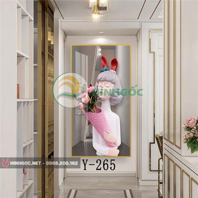 Tranh chân dung cô gái cầm bó hoa hồng-Y-265