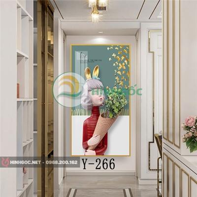 Tranh chân dung cô gái cầm bó hoa hướng dương-Y-266