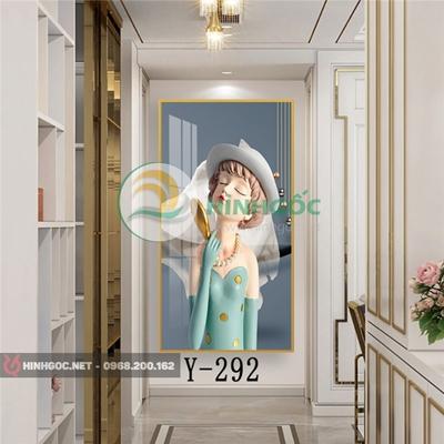Tranh chân dung cô gái cầm quạt vàng-Y-292