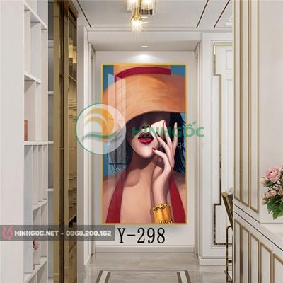Tranh chân dung cô gái thời trang sành điệu-Y-298