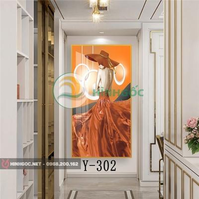 Tranh chân dung cô gái mặc váy màu cam-Y-302
