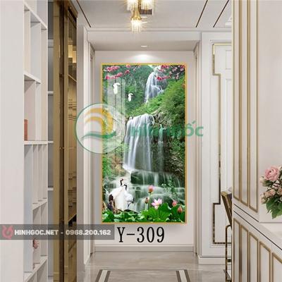 Tranh phong cảnh sơn thủy thác nước và hoa sen thơ mộng-Y-309