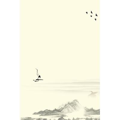 Mẫu poster chim hạc và dãy núi - YTK-04