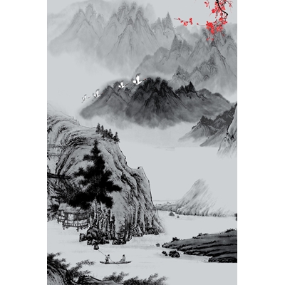 Mẫu poster những dãy núi và ngôi nhà - YTK-83