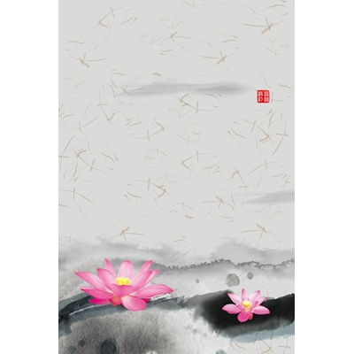 Mẫu poster hoa sen hồng - YTK-91